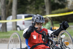 Raymond Brown Drives his handcycle Stock Photography