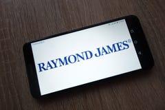 Raymond James Financial-embleem op smartphone wordt getoond die royalty-vrije stock afbeelding