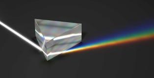 Rayo ligero y arco iris ópticos de la prisma Imágenes de archivo libres de regalías