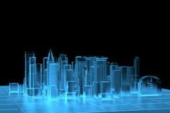 Rayon X bleu de ville rendu Image stock