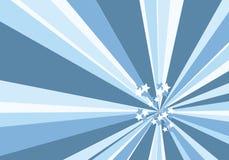 Rayon de soleil bleu avec des étoiles Photographie stock