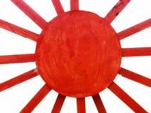 Rayon diagonal rouge sur la texture en bois avec les milieux blancs image stock