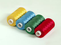 Rayon Embroidery Thread. Yellow - light blue green red Stock Images
