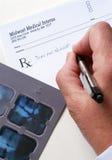 Rayon X et prescription Photos stock