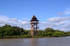 Rayong,泰国观点塔在Phra Chedi巴生Nam美洲红树生态学习中心 库存照片