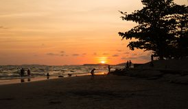 Rayong beach. Rayong long beach and sunset background Stock Images