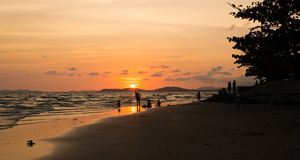Rayong beach. And sunset background Stock Images