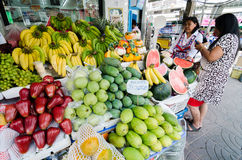 Rayong Sattahip, Thailand : Market women selling fruits. stock image
