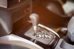 RAYONG - SEPTEMBER 7 2017: Gearstick of BMW on display at BMW EXPO 2017 on September 7, 2017 at Central Plaza Shopping Mall in Ray. Ong, Thailand Royalty Free Stock Image