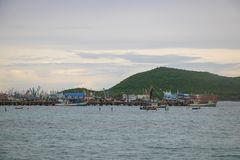 The atmosphere near the fishing pier on Samae Beach, Rayong. Royalty Free Stock Photos