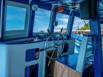 Boat Driver seat and beautiful sky on summer time royalty free stock photography