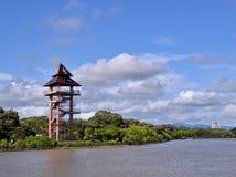 Rayong Thailand synvinkeltorn på Phraen Chedi Klang Nam Mangrove Ecology Learning Center royaltyfri foto