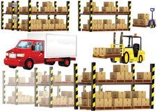 Rayonnage et transport d'entrepôt Photographie stock