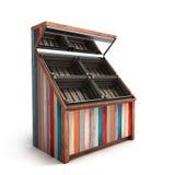 Rayonnage végétal en bois vide multicolore avec le rende des boîtes 3d Images libres de droits