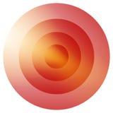 Rayonnement coloré vitreux, élément de cercles concentriques B rougeoyant illustration libre de droits