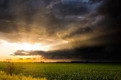 Rayons brillants de coucher du soleil après une tempête Image libre de droits