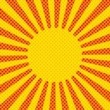 Rayons comiques de fond, vecteur Jaune et rouge Images libres de droits
