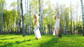 Rayons de lumi?re du soleil sur deux femmes dans des robes sexy dansant nu-pieds dans le verger de bouleau banque de vidéos