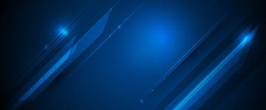Rayons de lumière de vecteur, lignes de rayures avec la tache floue bleue de lumière, de vitesse et de mouvement au-dessus du fon illustration stock