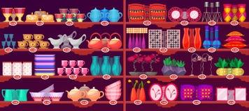 Rayons de magasin avec les approvisionnements et la vaisselle de cuisine Illustration Libre de Droits