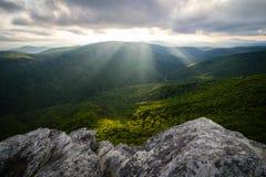 Rayons de Sun de gorge de Linville Photo libre de droits