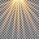 Rayons de Sun sur le fond transparent sunlight illustration de vecteur