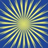 Rayons jaunes de Sun sur le fond bleu Sun avec le long vecteur eps10 de rayons illustration stock