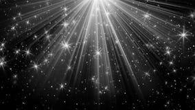 Rayons légers et étoiles sur le fond noir illustration libre de droits