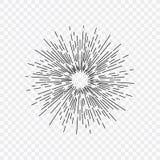 Rayons, rayon de soleil et rayons noirs du soleil Concevez les éléments, dessin linéaire, style de hippie de vintage Illustration illustration stock