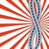 Rayons rouges et blancs Jour de la Déclaration d'Indépendance abstrait des Etats-Unis de fond Deux rubans avec des étoiles Photo libre de droits