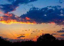 Rayos anaranjados de los puntos culminantes de la puesta del sol las nubes de cúmulo oscuras imagen de archivo libre de regalías