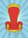 Rayos azules del fondo del arte pop del sol El objeto del interior, el trono del rey Vector Fotografía de archivo