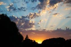 Rayos de la puesta del sol Imágenes de archivo libres de regalías