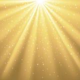 Rayos de oro de la luz y de las estrellas Fotografía de archivo