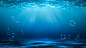 Rayos de sol y mar profundamente u océano subacuático como fondo stock de ilustración