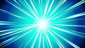 Rayos de Starburst en espacio Animación del lazo del haz de la historieta Fondo futuro del concepto de la tecnología Estrella de  ilustración del vector
