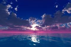 Rayos en nubes sobre el océano Imágenes de archivo libres de regalías