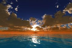 Rayos en nubes sobre el océano Imagenes de archivo
