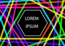 Rayos laser brillantes coloridos aislados en fondo negro Imagen de archivo