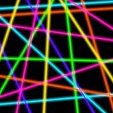 Rayos laser coloridos del neón en fondo transparente negro Imagen de archivo libre de regalías