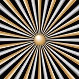 Rayos plata y oro en fondo negro Ilustración del Vector