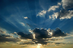 Rays. From the sun across the clouds Royalty Free Stock Photography