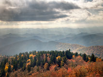 Rays Of Autumn Sunlight On Blue Ridge Mountains. Rays of autumn sunlight over the Blue Ridge Mountains during the fall foliage royalty free stock image