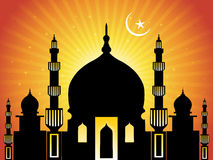 Rays background with moon, mosque Royalty Free Stock Photos