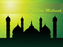 Rays background with mosque silhouette Royalty Free Stock Image