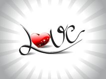Rays background with romantic shiny love text Stock Images