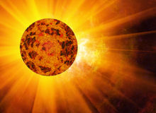 Rays beam of hot planet on space stars backgrounds Stock Photo