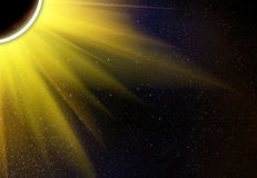Rays beam of planet on a space stars backgrounds Stock Photos
