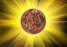 Rays beam of red planet on space stars backgrounds. Rays beam of red planet on space stars background Stock Photography