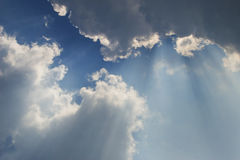 Rays behind clouds 2. Heavenly rays comes out from clouds Stock Photo